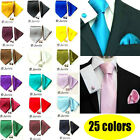 Classical Men's Necktie Hanky Cufflinks Tie Set 100% Silk Plain Solid Color