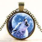 GIFT Cool Wolf Pattern Pendant Necklace Antique Bronze Glass Round Jewelry