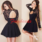 2015 Sexy Womens Long Sleeve Lace Slim Bodycon Party Cocktail Evening Mini Dress