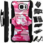 For Apple/Samsung Rugged Cover Kickstand Holster Case PINK WHITE CAMO  LuxGuard