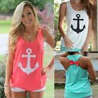 Summer Womens Anchor LS Vest Top Sleeveless OU Blouse Casual Tank Tops S0BZ