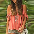 Fashion Women Summer Loose Top Short Sleeve Blouse Ladies Casual Tops T-Shirt  D