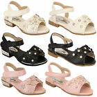 Girls Kids Floral Diamante Open Toe Toddlers Velcro Flat Shoes Sandals By Kelsi