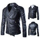 Occident PU Mens Overcoat Motorcycle Jacket Asymmetric inclined zipper Warm