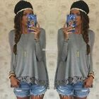 Plus Women Summer Long Sleeve Loose Floral Lace Retro T shirt Tee Blouse Tops