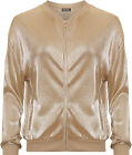 Womens Pleated Gold Bomber Jacket Ladies Ribbed Zip Long Sleeve Crew Neck Top