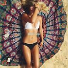 Indian Peacock Mandala Round Tapestry Hippie Gypsy Beach Throw Blanket S0BZ