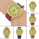 Retro Imitation Wood Dial Faux Leather Band Lovers Quartz Analog Wristwatch