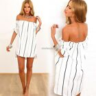 Sexy Women Striped Off-Shoulder Casual Chiffon Party Beach Short Mini Dress S-XL