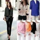 Women V-neck Loose Casual Chiffon Long Sleeved Shirt Tops Blouse Ladies Top N4U8