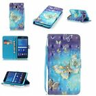 Beautiful gold Butterfly wallet Leather case cover with strap for various phone