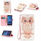 Cute Owl shell wallet Leather case Skin cover with strap for various phone