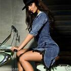 Womens Bodycon Cowboy Denim Jean Dress Ladies Party Evening Mini Dress Size 6-14