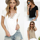hot Summer Women Sexy V-neck Short Sleeve Bandage Tops T-shirt Casual Blouse