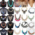 Women Fashion Jewelry Pendant Crystal Choker Chunky Statement Chic Bib Necklace