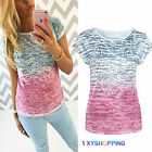Ladies Womens Casual Ombre Tops Short Sleeve T-Shirt Round Neck Tee Tops Blouse