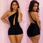 Women Sexy Sleeveless One Shoulder Chiffon Rompers Short Pants Jumpsuit Casual