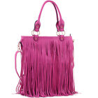 Dasein Fringe Faux Leather Large Tote Bag Satchel Bag