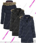 NEW Size 8 10 Womens Faux Fur PADDED Ladies JACKET Puffa COAT Black Navy Hood