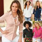 Women Long Sleeve Casual Shirt OL Slim Fit Button Down Collar Formal Blouse Top