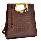 Tall Structured Crocodile Tote Leahter Gold Tone Trim Handbag with Frame handles