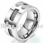 9MM FREE ENGRAVING Mens Stainless Steel Cables Screw Wedding Ring Band Size 8-13