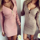 Sexy V-Neck Womens Mini Dress Bandage Bodycon Long Sleeve Evening Party Cocktail