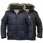 Mens Jacket Crosshatch Coat Hooded Quilted Padded Bomber Fur Lined Winter New