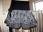NEW Black Grey Unique Woollen Lace Frilled skirt Gothic Party Punk Hippy Boho