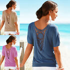 Hot Women's Hollow Lace Stylish Short Sleeve T-shirt Patchwork Loose Tops Blouse