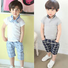2-7T Fashion Kids Boy Short Sleeve Tops Polo Shirt+ Short Pants Trousers Outfits