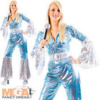 Waterloo Blue 1970s  Fancy Dress Ladies Funk Costume 70s Outfit UK Size 6-24 NEW