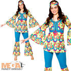 Funky Hippy Chick Ladies Fancy Dress Groovy 60s 70s Womens Adults Hippie Costume
