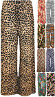 New Womens Printed Ladies Palazzo Wide Leg Flare Full Length Trousers Pants 8-14