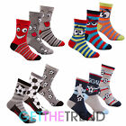 Boys Novelty 6 Pack Socks Boys Cartoon Face Football Design Cotton Rich Socks