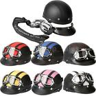 Vintage Motorcycle Half Helmet Open Face with Shield Visor UV Goggles Color opt