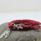 Fashion Bangles Men Jewelry Accessories PU Leather Feather Charm Bracelets EF