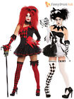Ladies Evil Jesterina Sexy Harlequin Clown Costume Halloween Fancy Dress Womens