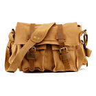 Gearonic Men's Vintage Canvas and Leather School Military Shoulder Bag