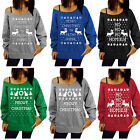 Fahion Women Jumper Pullover Tracksuit One Shoulder New Blouse Loose Sweater Top