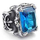 Mens Crystal Stainless Steel Size8-15 Ring Gothic Dragon Claw Blue Silver Gift