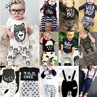 Various 2pcs baby boys girls T-shirt + pants Infant Cotton Clothes Outfits Set A