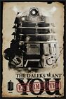 DOCTOR WHO - FRAMED TV SHOW POSTER (DR. WHO - THE DALEKS WANT YOU EXTERMINATED)