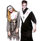 Scary Zombie Religious Adults Halloween Fancy Dress Priest Nun Costume Outfit
