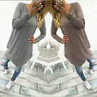 Womens Casual Loose Long Sleeve Irregular Mini Dress Evening Party Long Tops HOT