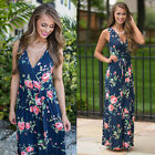Vintage Women's Long Maxi SLIM Dress Casual Floral Sleeveless Party Formal Gowns