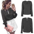 Women Vintage Chiffon Dot Print Long Sleeve Blouse Autumn Casual T-shirt Tops