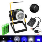 White+Blue XML T6 3000LM Rechargeable LED Zoomable Flood Light 3X18650 Spot Lamp