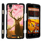 For ZTE Max Boost N9520 Case Hard Snap On 2 Piece Slim Shell Pink Hunting Deer
