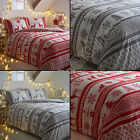 SNOWFLAKE CHRISTMAS REINDEER REVERSIBLE QUILT DUVET COVER BEDDING SET RED GREY